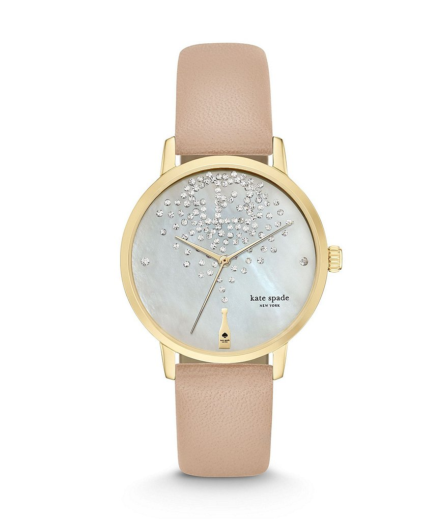 kate spade new york Metro Leather Strap Stainless Steel 3 Hand Watch