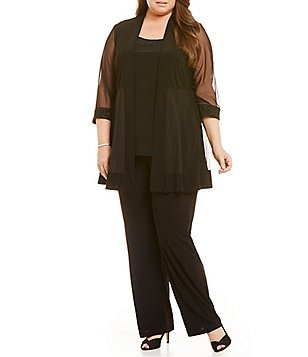 R & M Richards Plus Mesh Inset Mock 2-Piece Pant Set