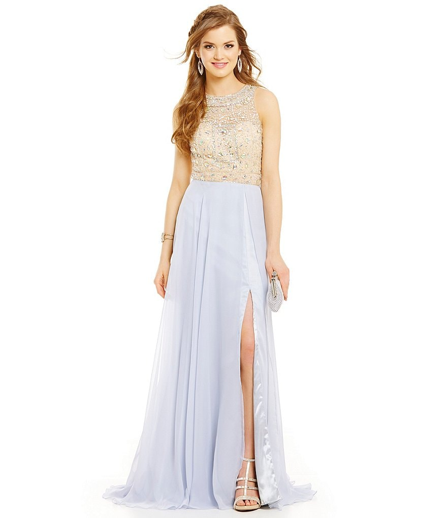 MAC by Mac Duggal Square Beaded Bodice Gown