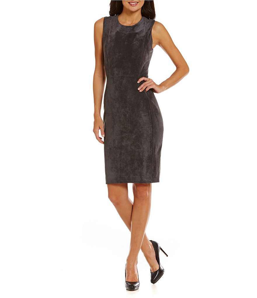 Calvin Klein Faux-Suede Sleeveless Sheath Dress