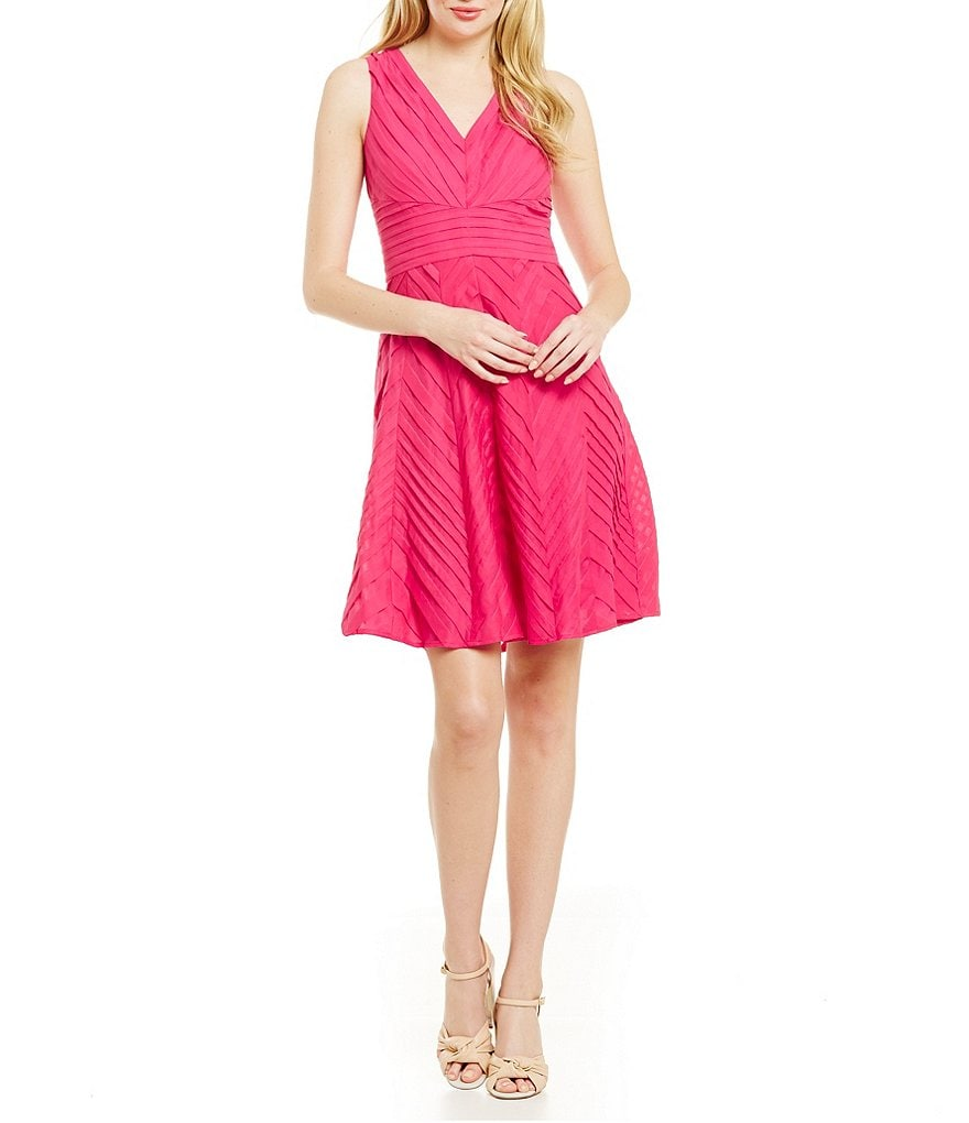 Calvin Klein Cotton Pintuck Fit-and-Flare Dress