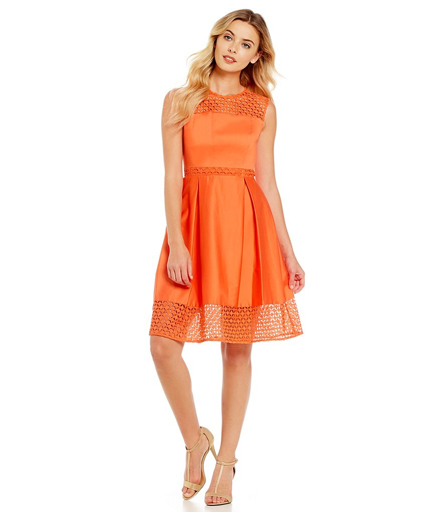 Calvin Klein Lace Cut Out Fit-and-Flare Dress
