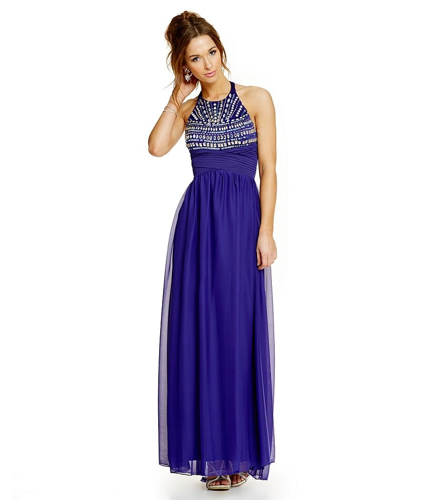 Sequin Hearts Beaded Bodice High Neck Long Halter Dress