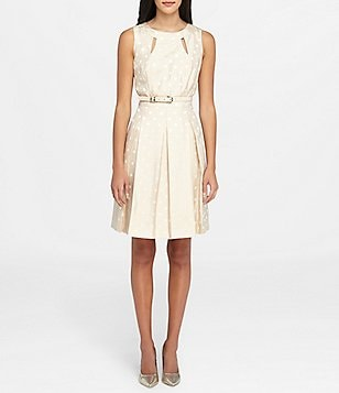 Tahari ASL Metallic Dot-Print Jacquard Fit-and-Flare Dress