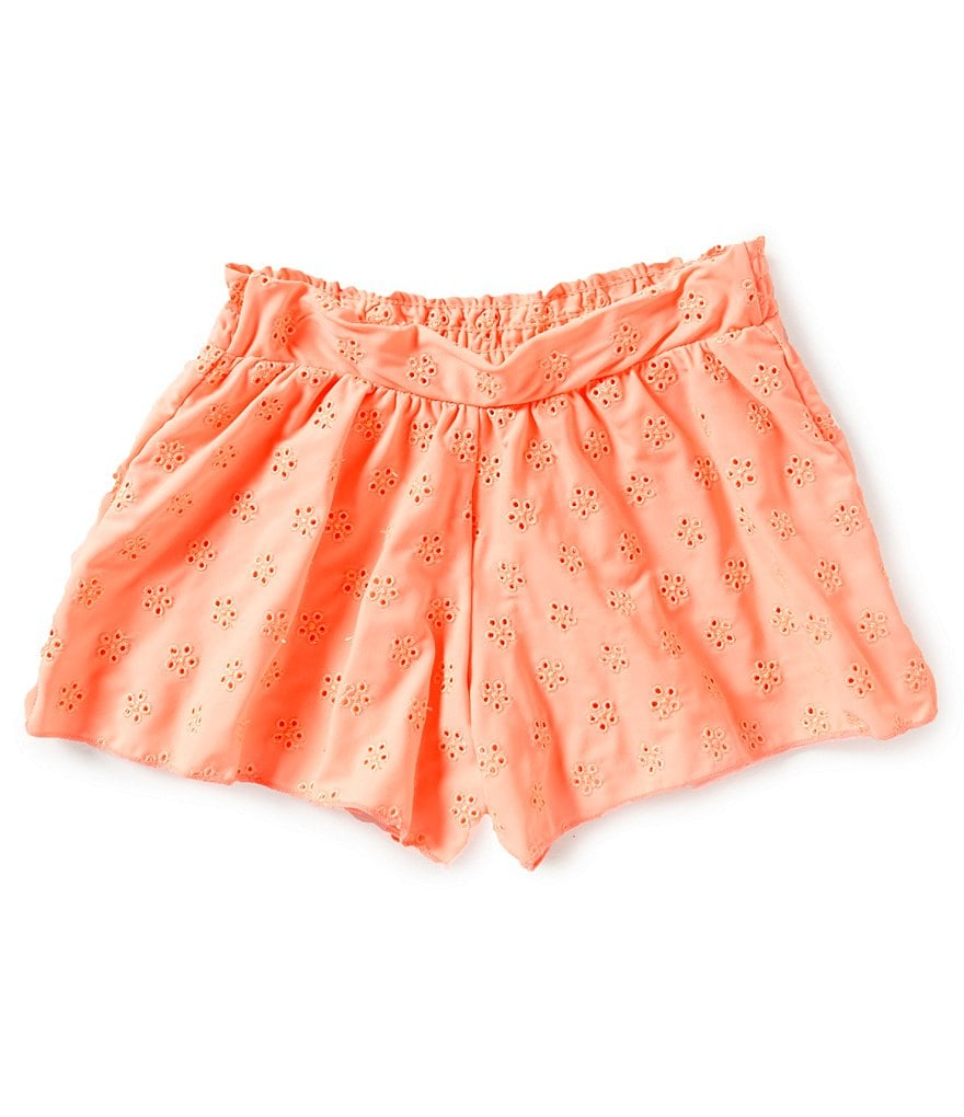 GB Girls 7-16 Solid Cantaloupe Eyelet Short Coverup