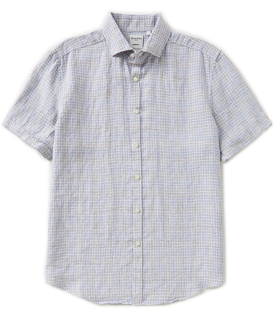 Murano Baird McNutt Short-Sleeve Small Check Linen Shirt