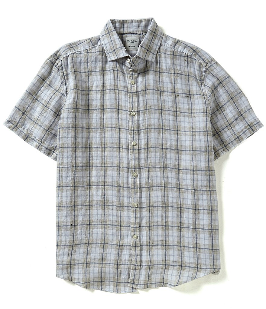 Murano Baird McNutt Short-Sleeve Heather Plaid Linen Shirt