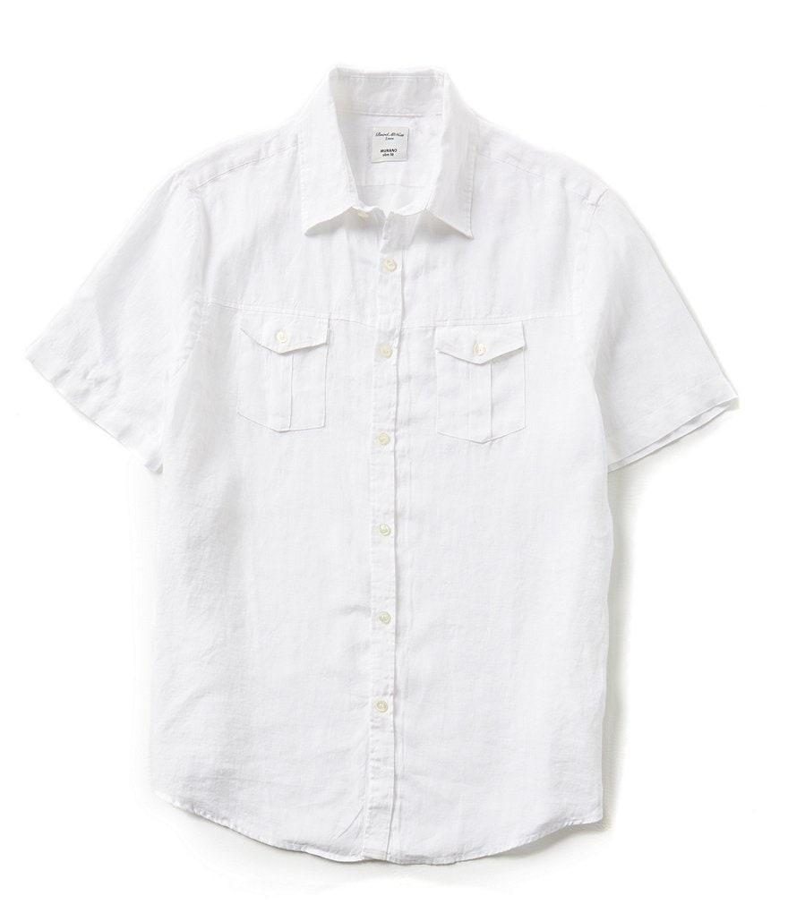 Murano Baird McNutt Short-Sleeve Slim-Fit Solid Linen Shirt