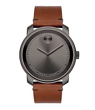 Movado Bold Large Leather Strap Analog Watch
