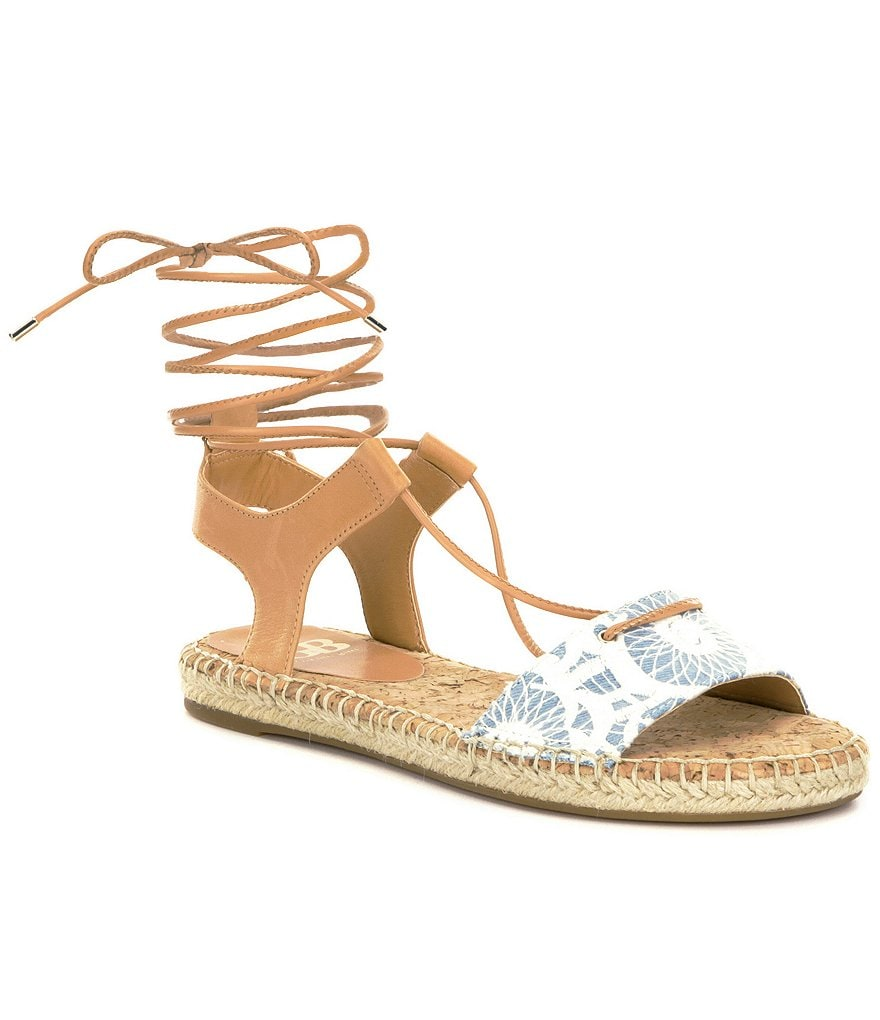 GB So-Hasty Denim & Leather Lace-Up Banded Espadrille Sandals
