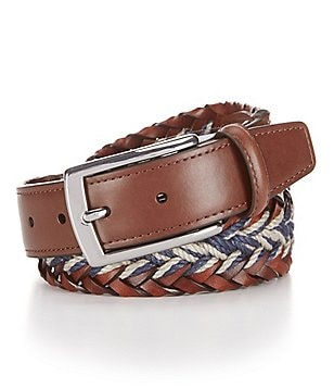 Cremieux Braided Leather and Linen Belt