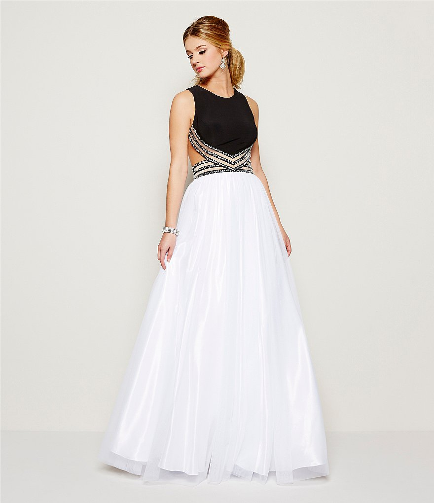 Blondie Nites Beaded Illusion Waist Color Blocked Ball Gown