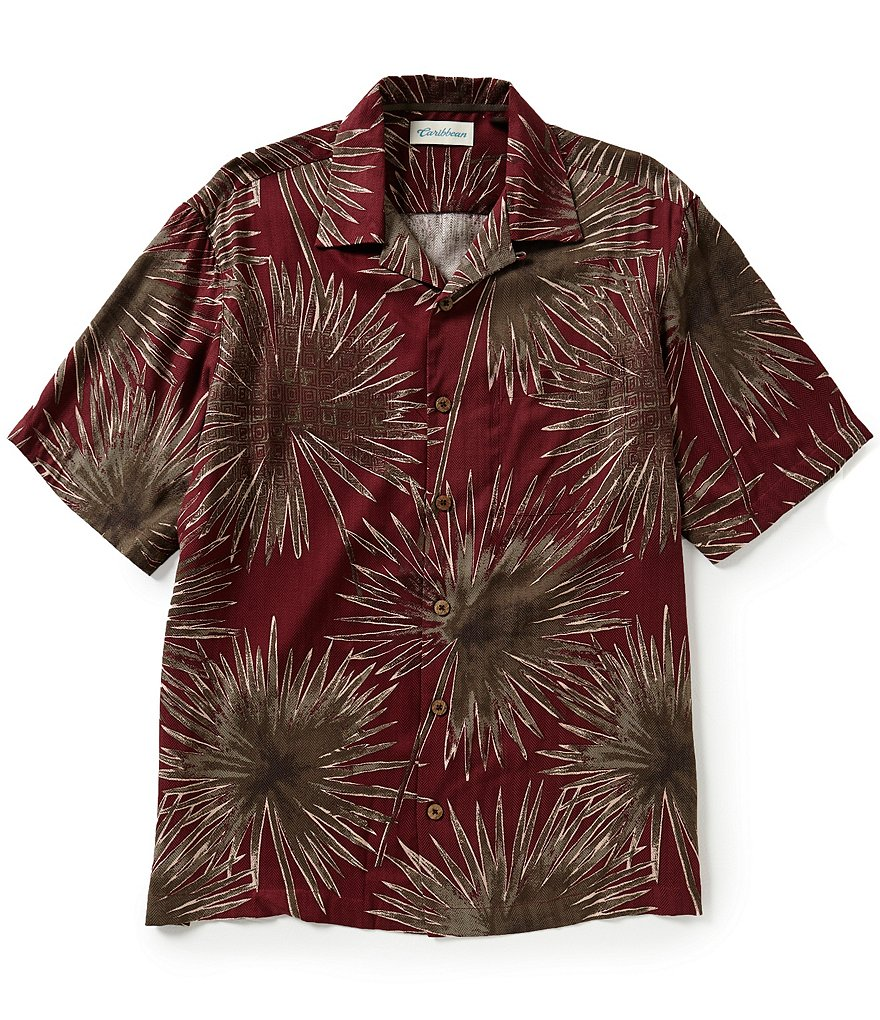 Caribbean Short-Sleeve Silk Rayon Sun Palms Print Camp Shirt