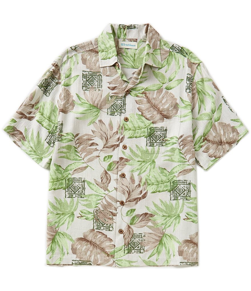 Caribbean Short-Sleeve Rayon Batik Leaf-Print Camp Shirt