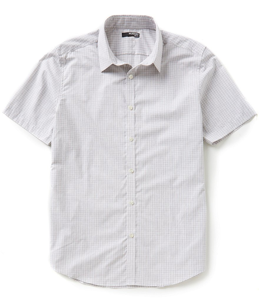 Murano Heather Plaid Slim-Fit Short-Sleeve Sportshirt