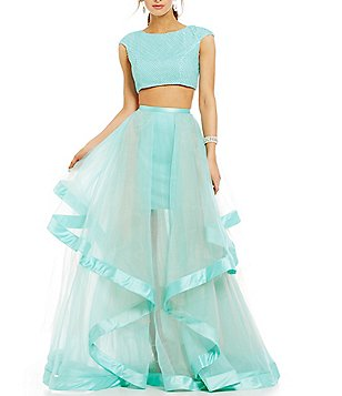 Glamour by Terani Couture Pearl Beaded Crop-Top Two-Piece Long Dress