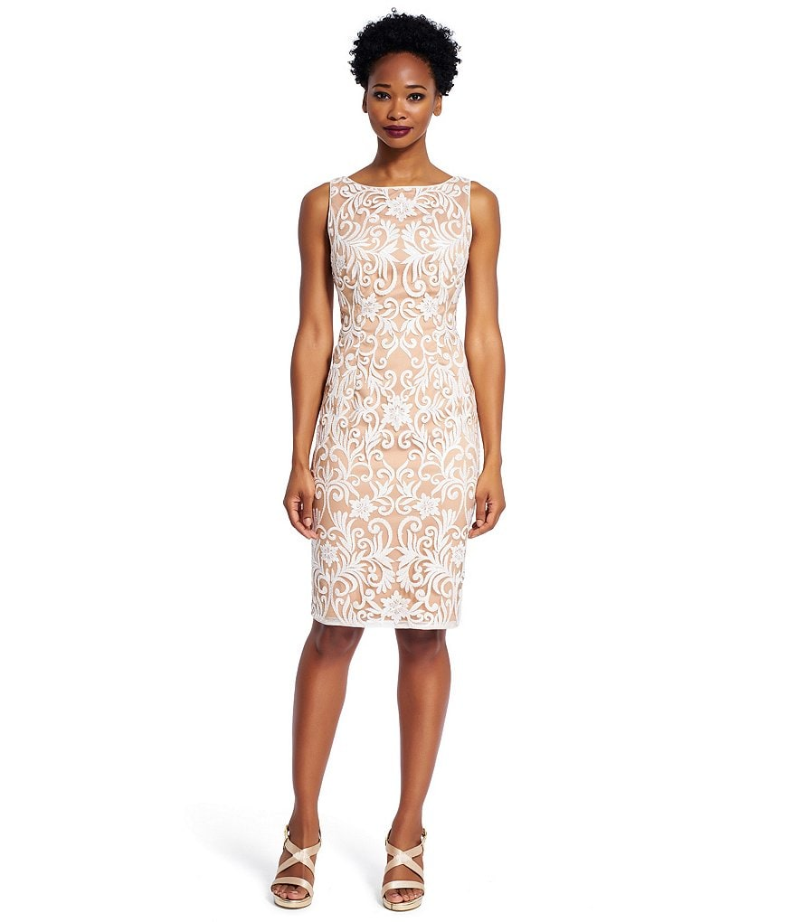 Adrianna Papell Embroidered Sequin Sheath Dress