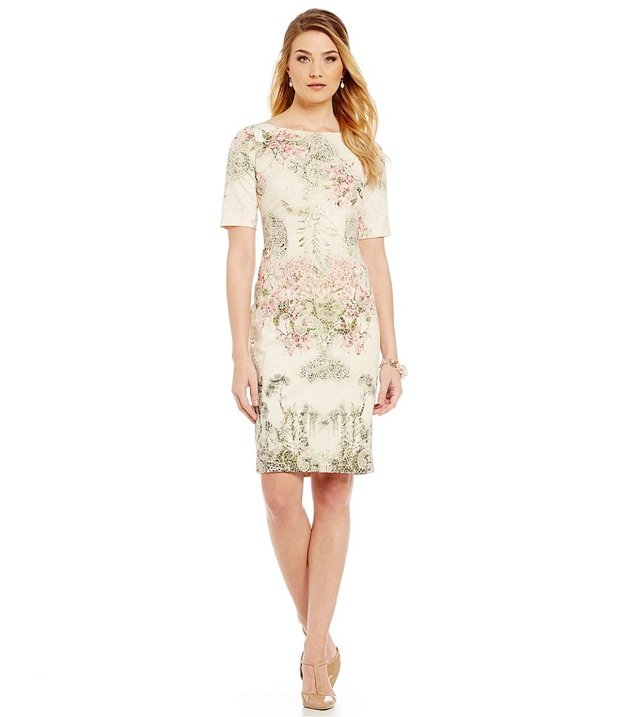 Adrianna Papell Border-Print Lace Matelasse Sheath Dress
