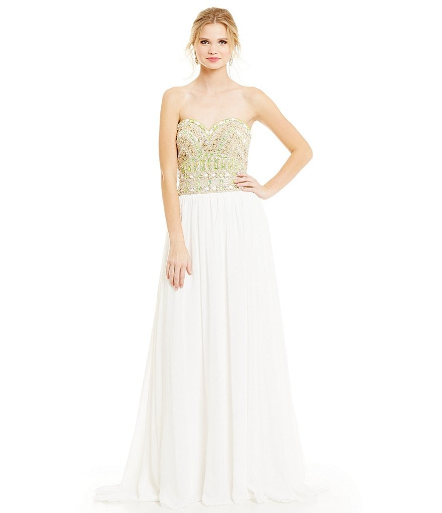 Glamour by Terani Couture Strapless Opaque Beaded Bodice Gown