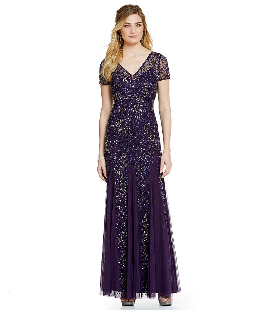 Adrianna Papell Beaded Short Sleeve V-Neck Gown