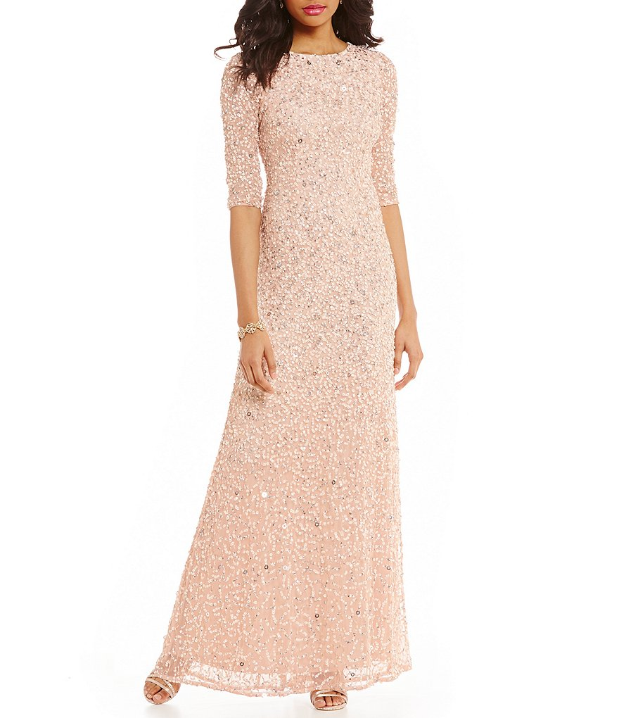 Adrianna Papell 3/4 Sleeve Sequin Beaded Column Gown