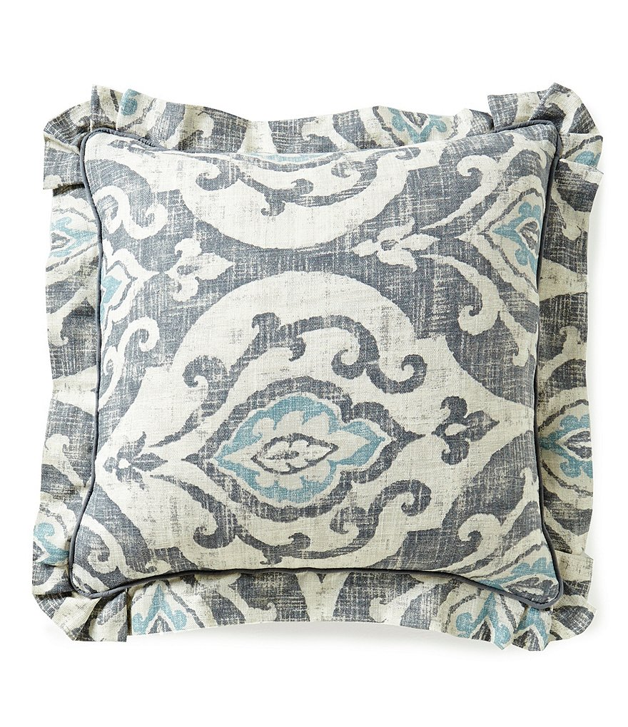 Southern Living Almira Medallion Faux-Linen Square Pillow