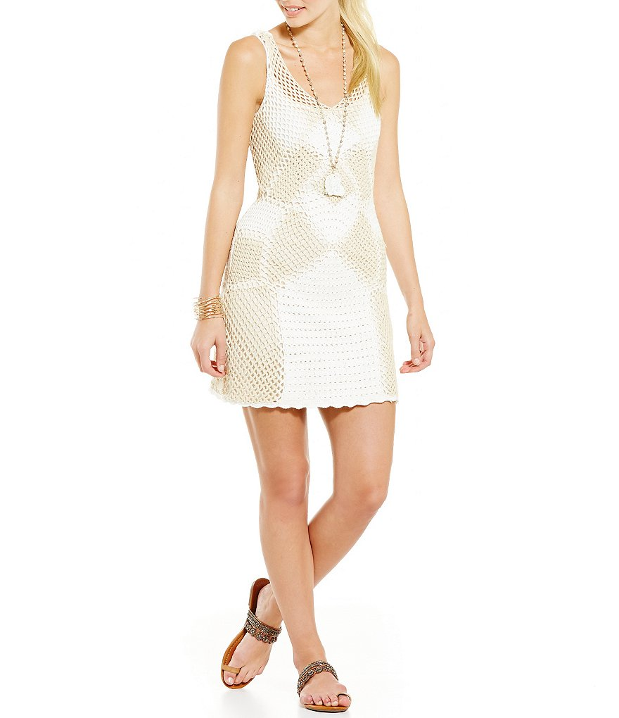 Jessica Simpson Muse Abstract Crocheted Dress