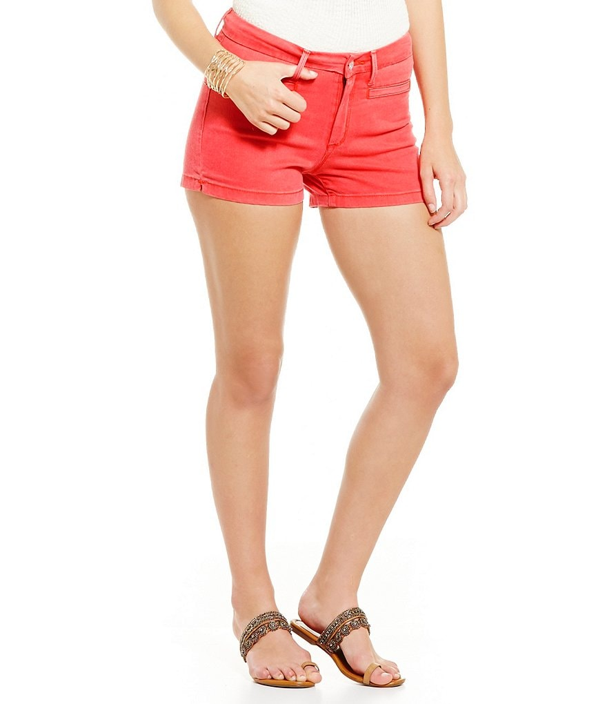 Jessica Simpson Uptown Welt-Pocket High-Rise Skinny-Fit Twill Shorts