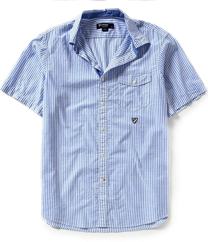 Cremieux Short-Sleeve Stripe Woven Shirt