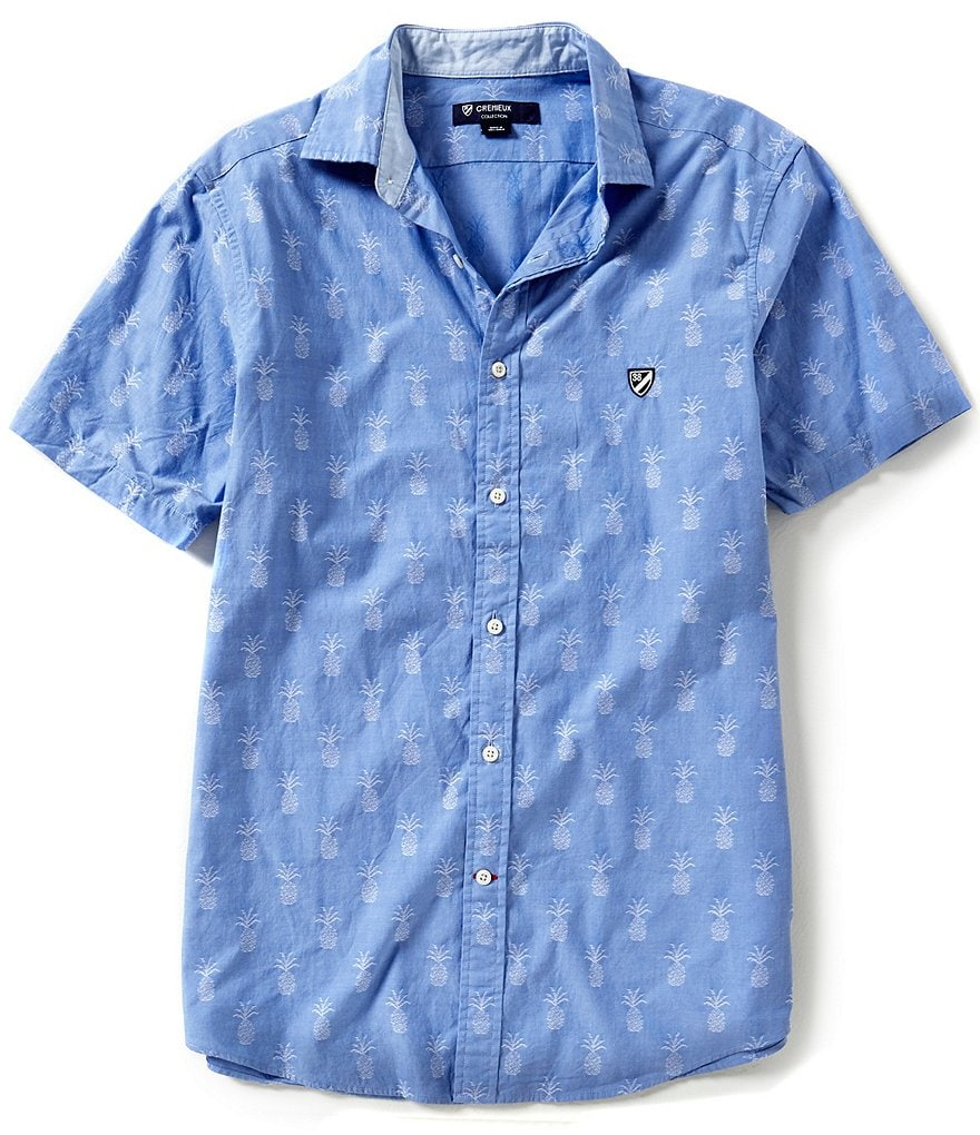 Cremieux Short-Sleeve Repeating Pineapple Print Camp Woven Shirt