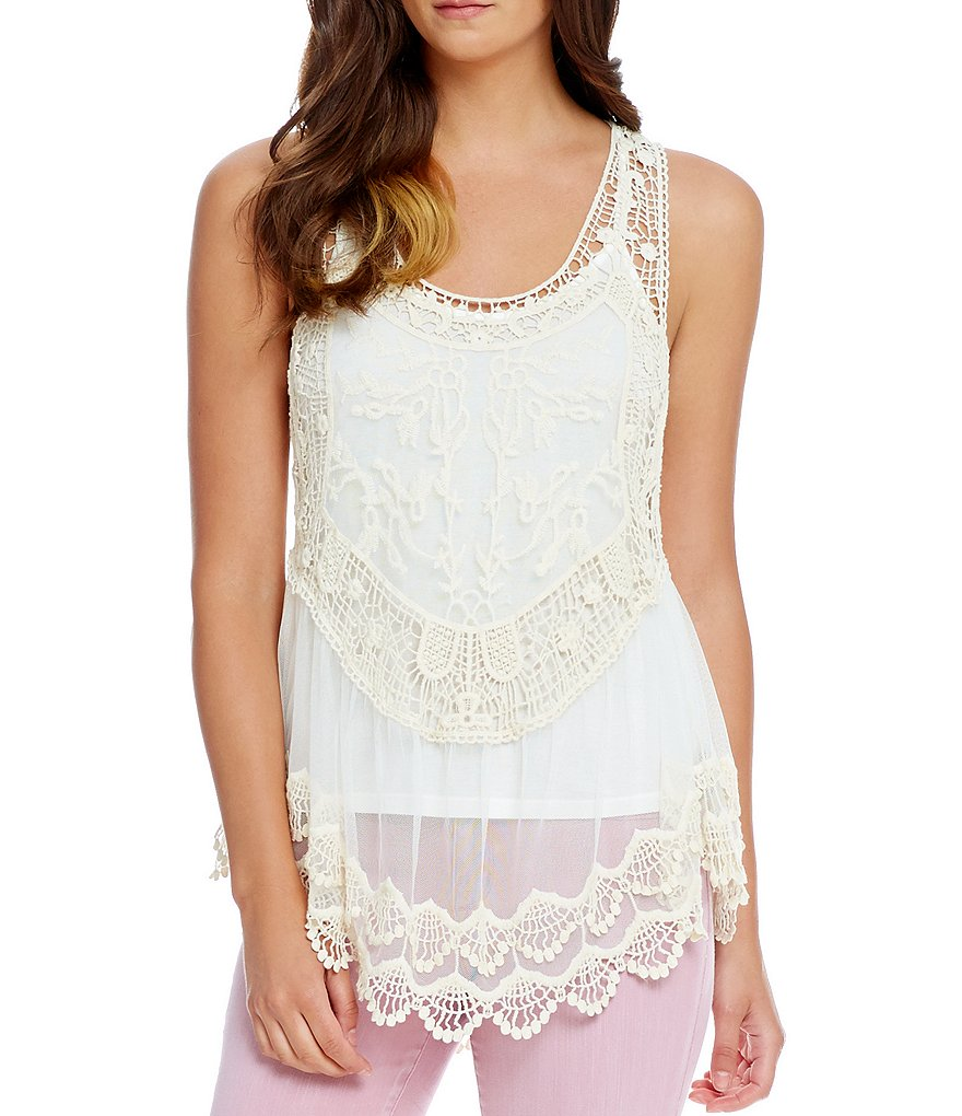 Jessica Simpson Zea Embroidered Mesh Tank Top