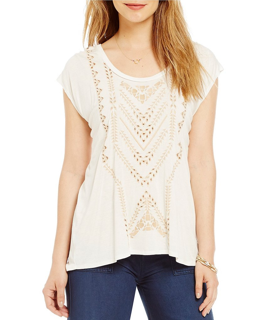 Jessica Simpson Lavi Solid Embroidered Split-Back Tee