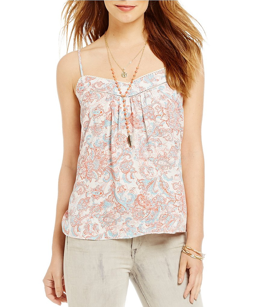 Jessica Simpson Shelby Scarf-Printed Cross Back Peasant Tank Top