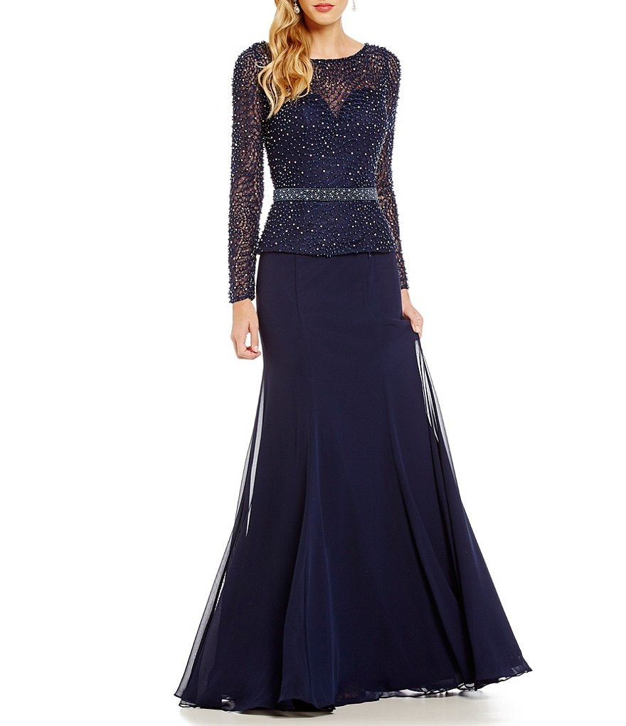 Terani Couture Beaded Faux Two-Piece Gown