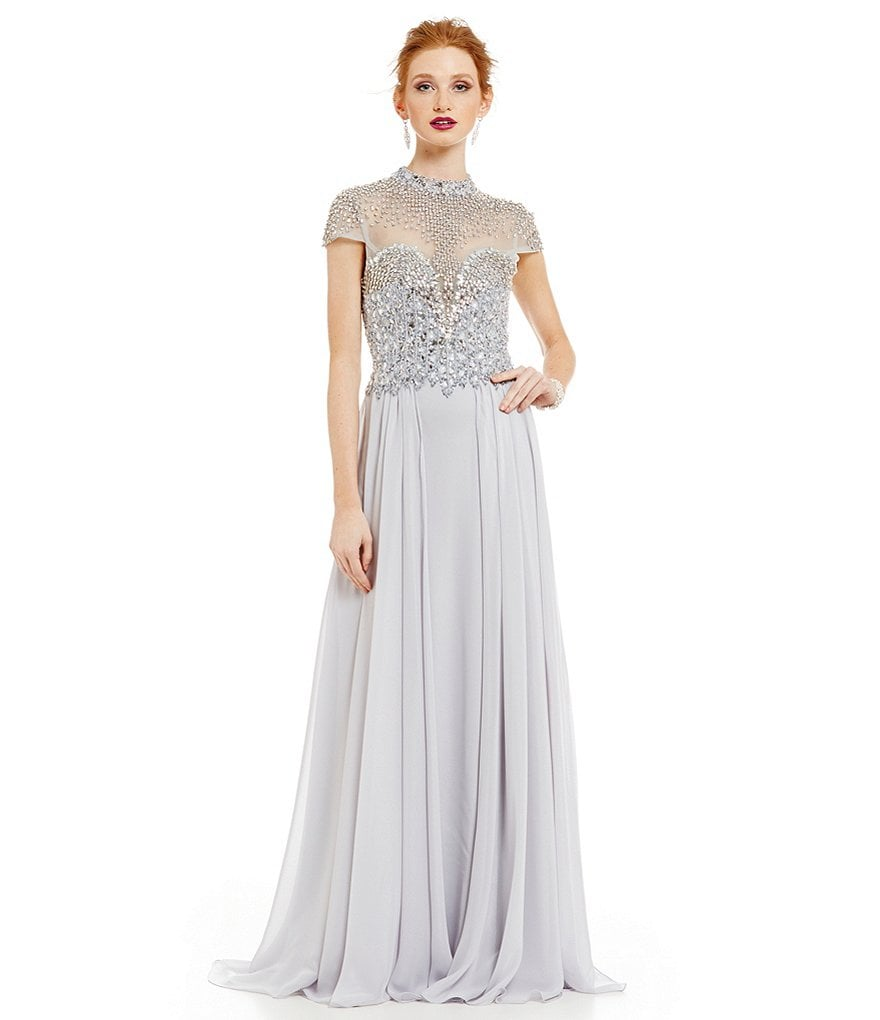 Terani Couture Beaded High Neck Chiffon Gown