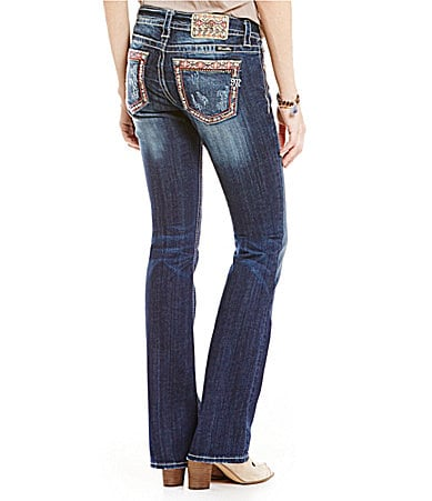 Miss Me Abstract Pocket Mid-Rise Bootcut Jeans