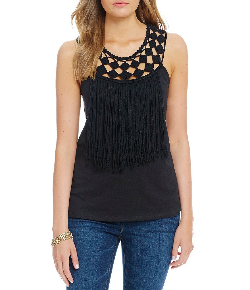 Jessica Simpson Tae Braided-Neck Fringe-Trimmed Top