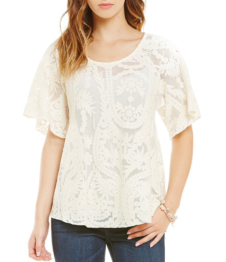 Jessica Simpson Gwen Embroidered Lace Mesh Peasant Top