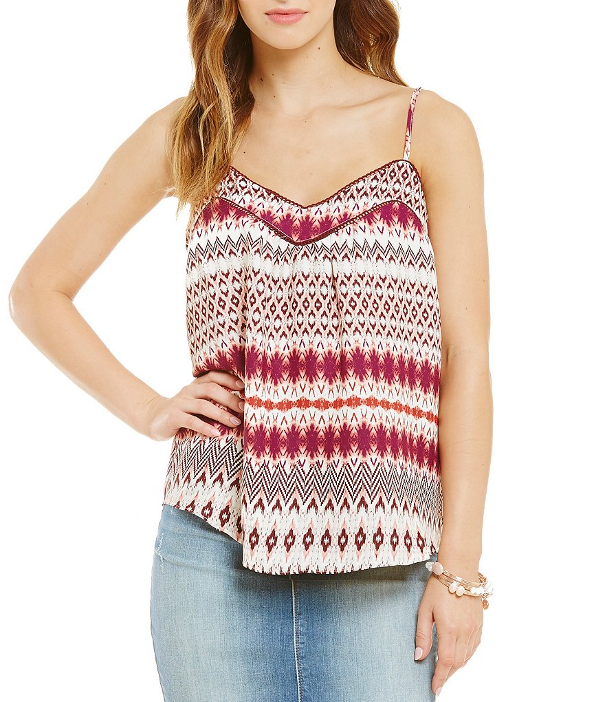 Jessica Simpson Shelby Printed Cross-Back Peasant Tank Top