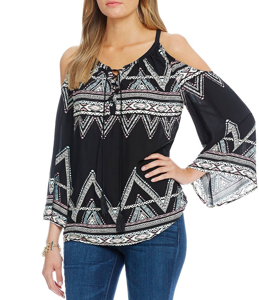 Jessica Simpson Shayna Printed Cold-Shoulder Lace-Up Peasant Top