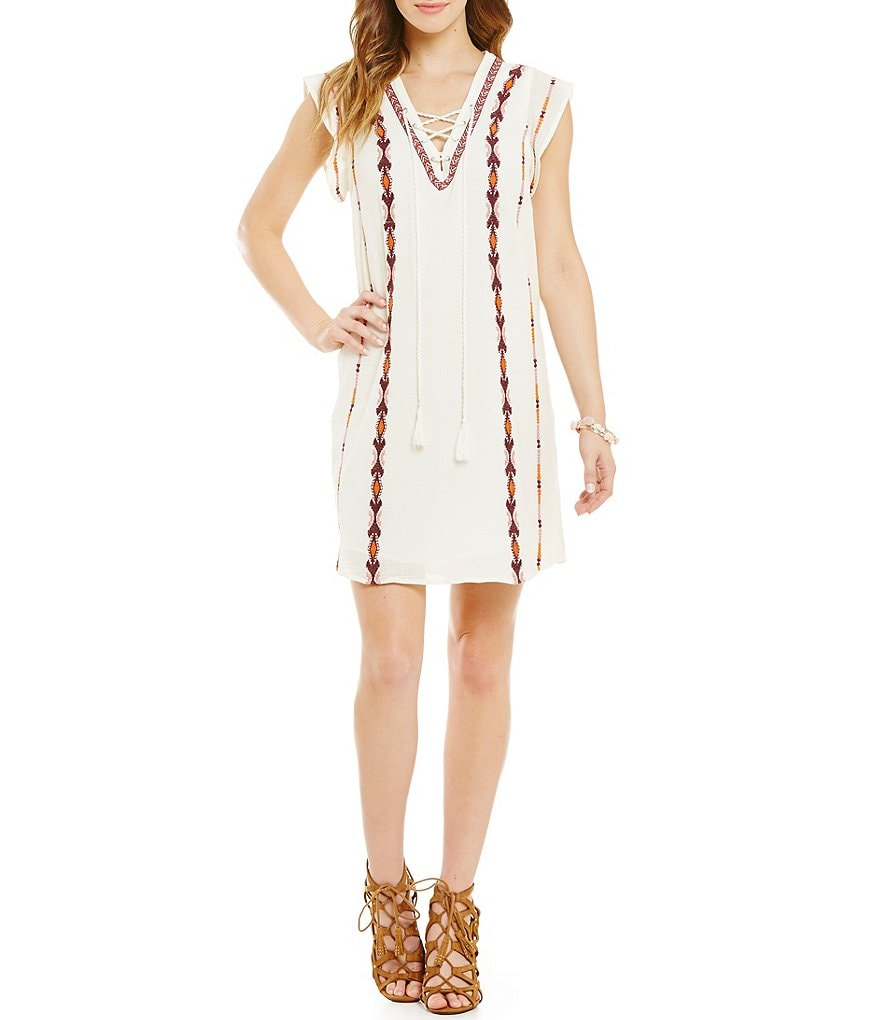 Jessica Simpson Brinley Lace-Up V-Neck Shift Dress