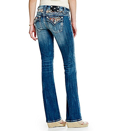Miss Me Flower Beaded Bootcut Jeans