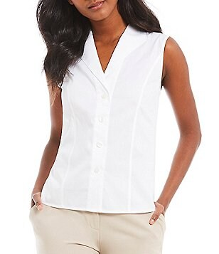 Calvin Klein Petite Wrinkle-Free Pinpoint Oxford Sleeveless Blouse