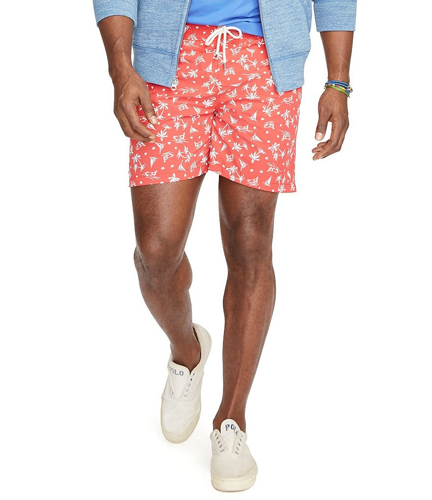 Polo Ralph Lauren Big & Tall Traveler Wakeboard-Print Swim Shorts