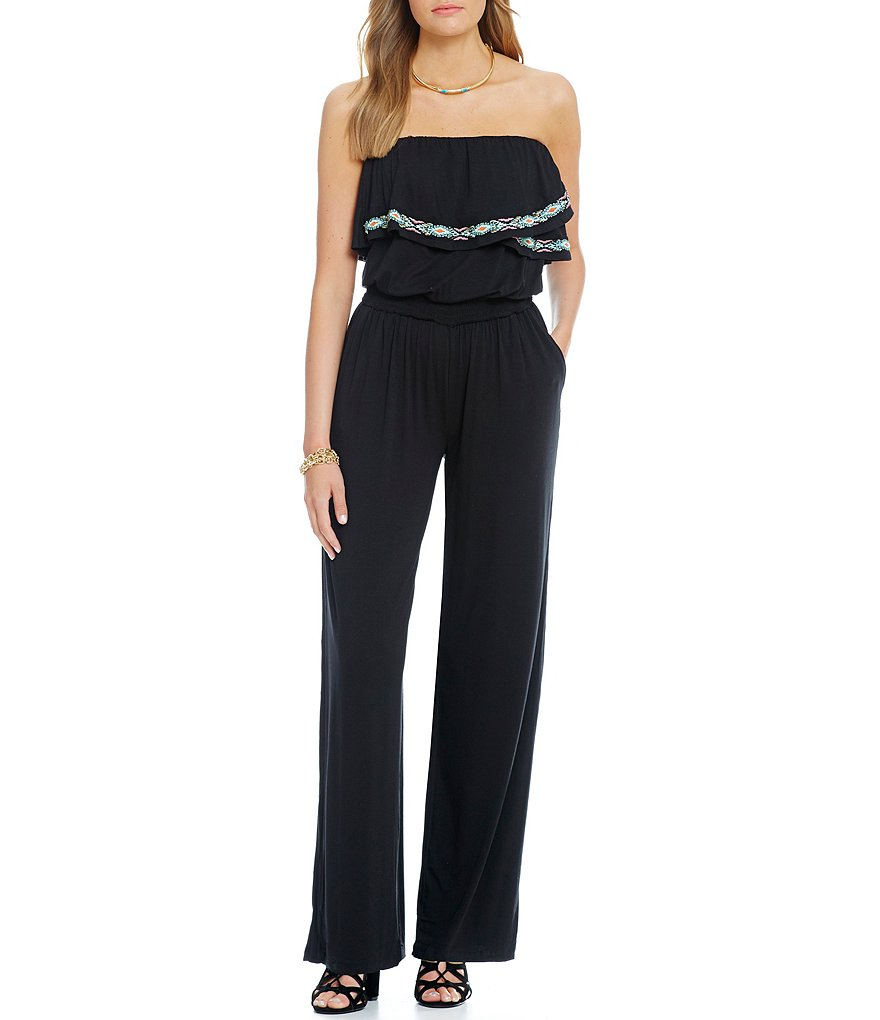 Jessica Simpson Davina Embroidered Smocked Jumpsuit