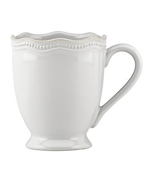 Lenox French Perle Beaded Scalloped Stoneware Mug
