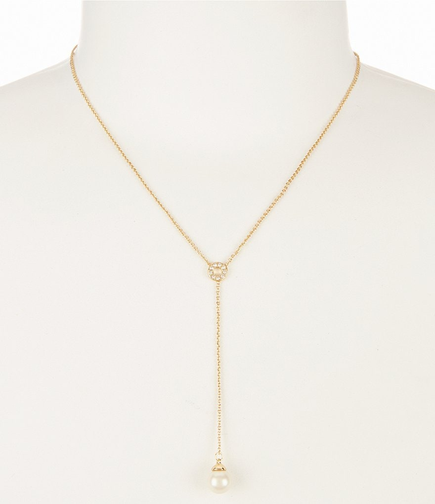 kate spade new york Faux-Pearl Pavé Y-Necklace
