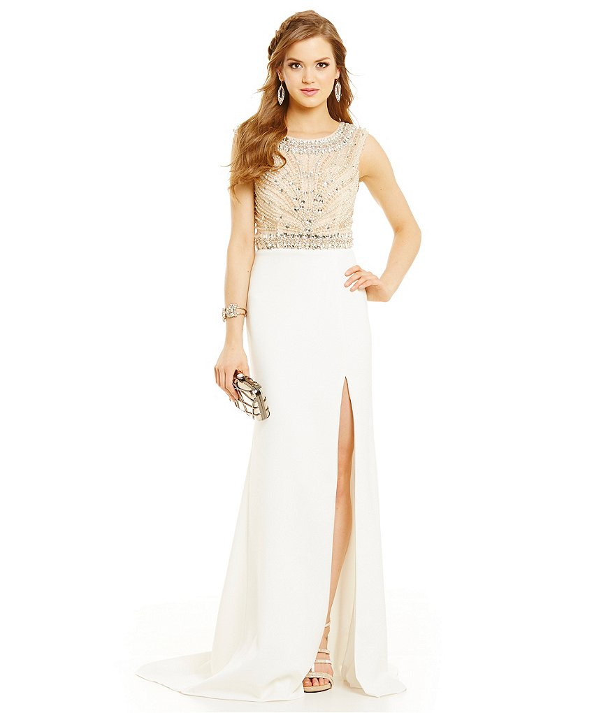 Glamour by Terani Couture Beaded Bodice Long Neoprene Dress
