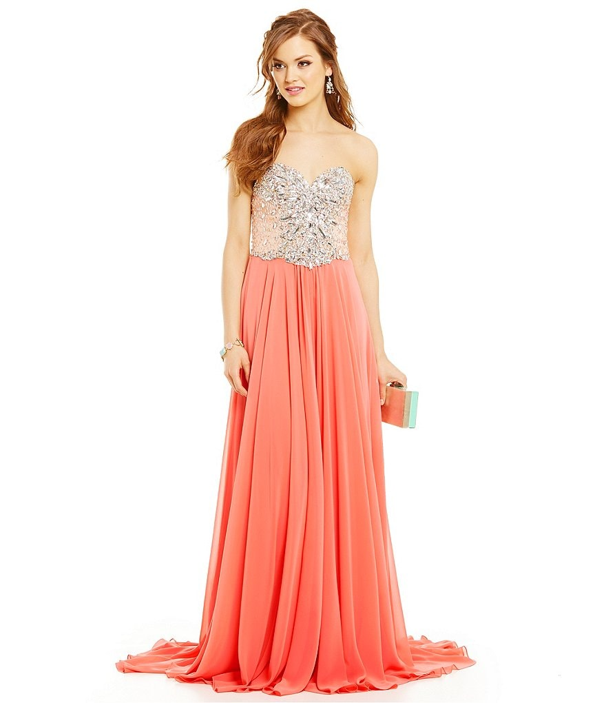 Glamour by Terani Couture Strapless Beaded Empire Bodice Trumpet Gown