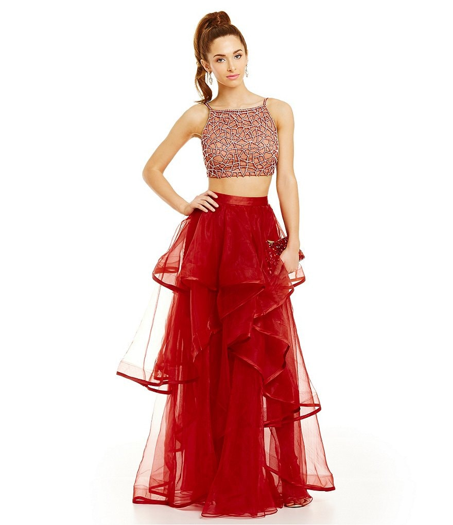 Glamour by Terani Couture Crop-Top Two-Piece Organza Skirt Gown